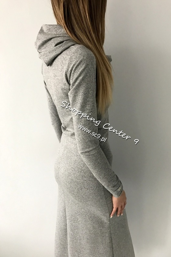 GRAY DRESS MAXI COTTON