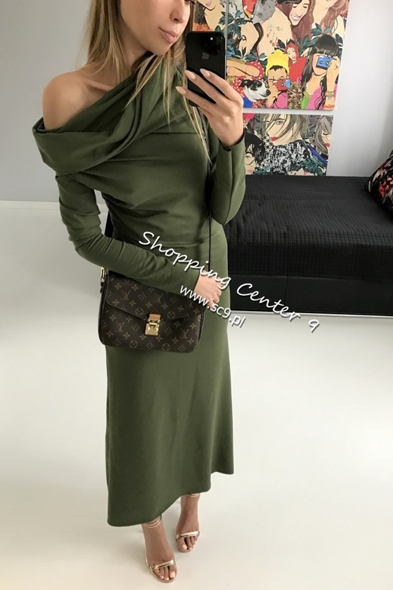 KHAKI DRESS MAXI COTTON