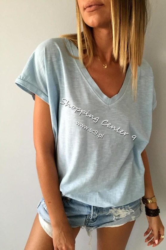V-NECK BLUE TSHIRT
