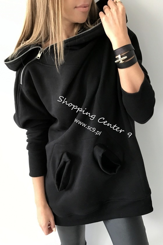 ZIPPED HOOD BLACK SWEATSHIRT