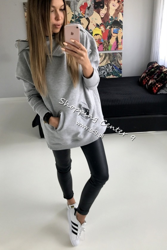 ZIPPED HOOD GREY SWEATSHIRT