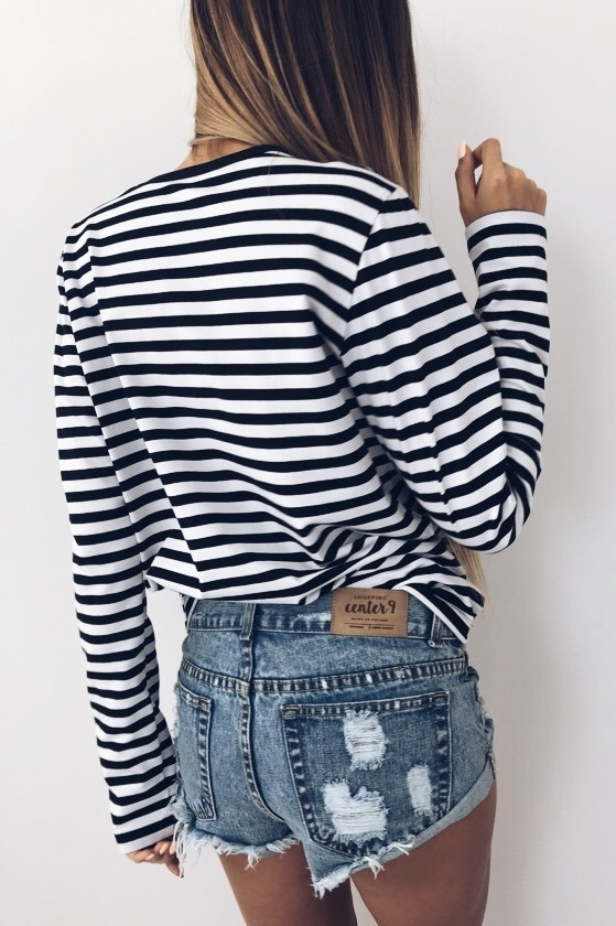 BLACK BASIC LONGSLEEVE STRIPES