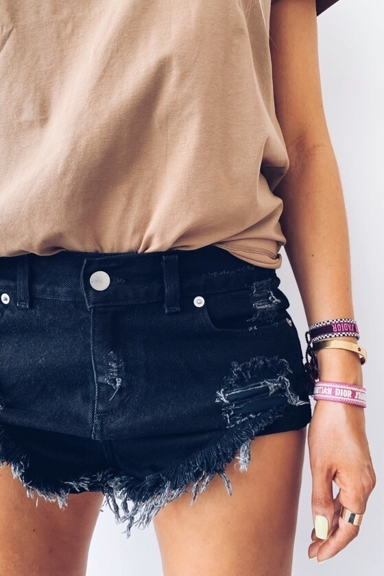 DENIM BLACK L.A. SHORTS