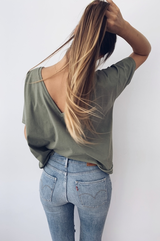 OPEN BACK T-SHIRT KHAKI