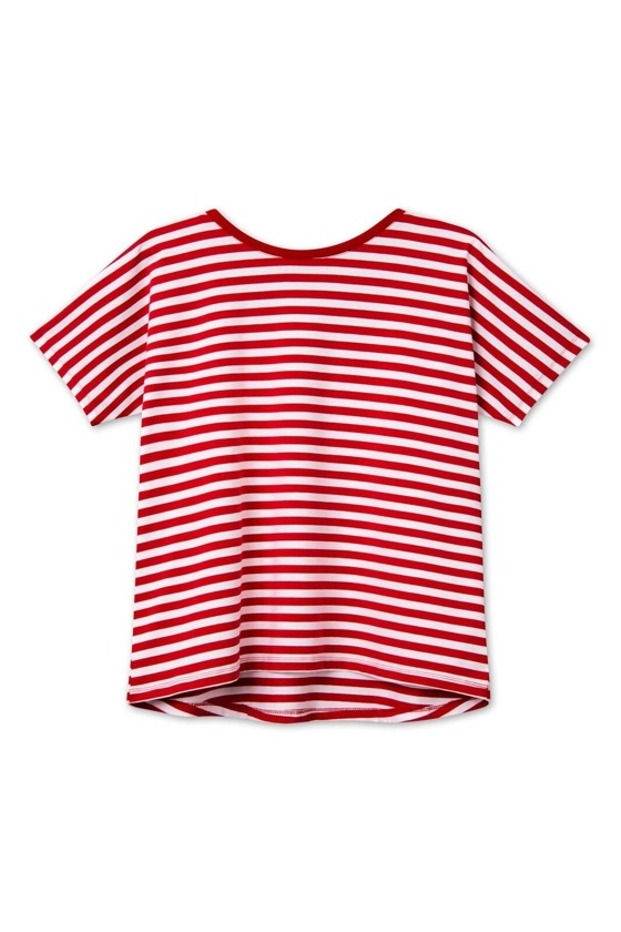 RED STRIPES OPEN BACK T-SHIRT
