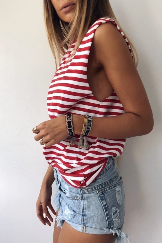 RED STRIPES TANK TOP