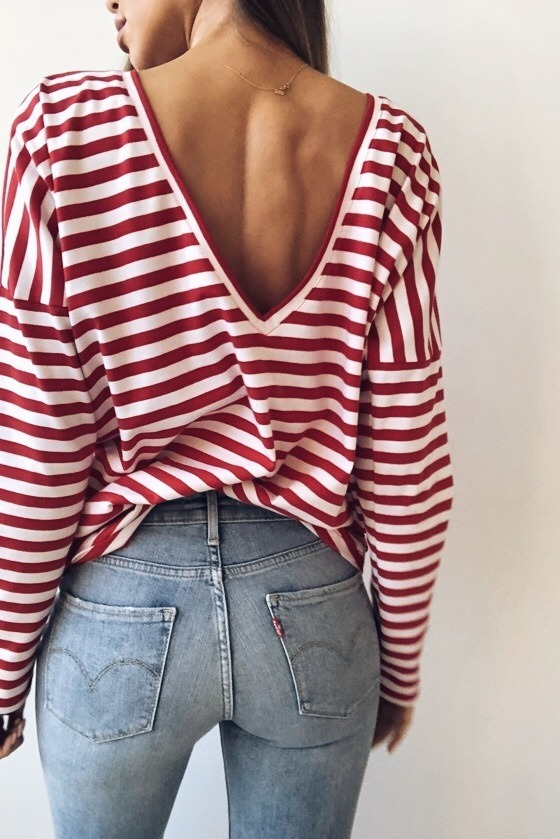 RED V LONGSLEEVE STRIPES