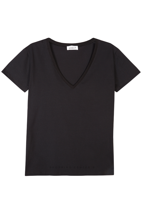 T-SHIRT V-NECK CZERŃ